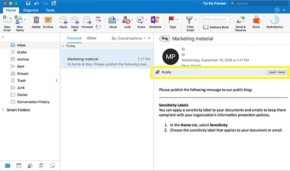 برچسب های حساسیت محافظت از اطلاعات مایکروسافت