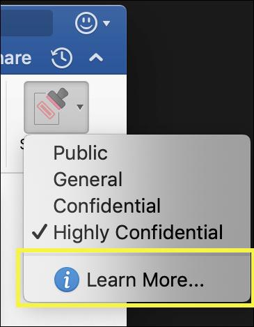 برچسب محافظت اطلاعات مایکروسافت