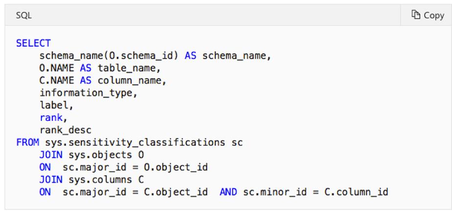 کشف و طبقه بندی داده های SQL